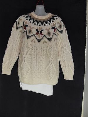 1980's Vintage Cable Knit Wool Jumper with Circular Patterned Yoke.