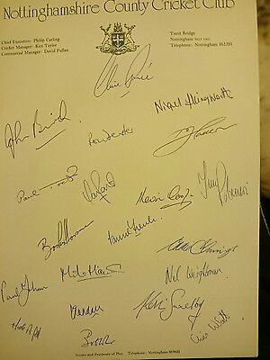 Nottinghamshire County Cricket Club Signed Team Sheet Circa 1982