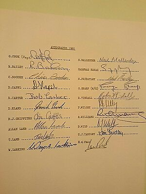 Northamptonshire County Cricket Club Signed Team Sheet 1981
