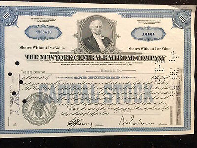 Vintage stock certificate for The New York Central Railroad Co & 11 tickets