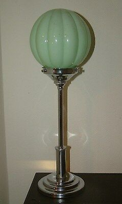 Superb Stepped Chrome Modernist Art Deco Lamp Lampe Iconic Green Pumpkin Shade