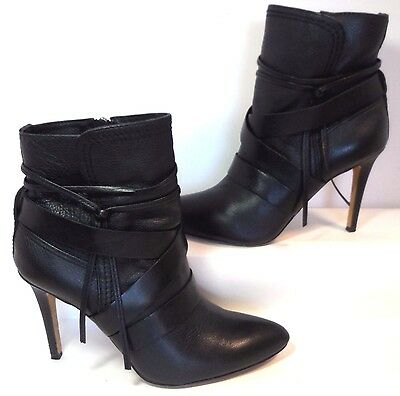 Vince Camuto Solter Black Leather Strap Ankle Boot Women US 7 Minimal Wear