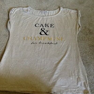 beige capped ladies t shirt size 14 brand new