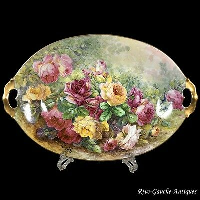 "18.7"" long huge Limoges hand painted tray/ platter with the roses, artist signed"
