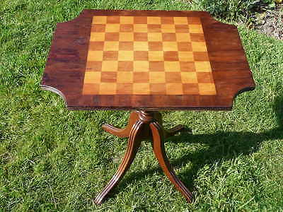 Antique Style Mahogany Satinwood Chequerboard Tilt Top Table.