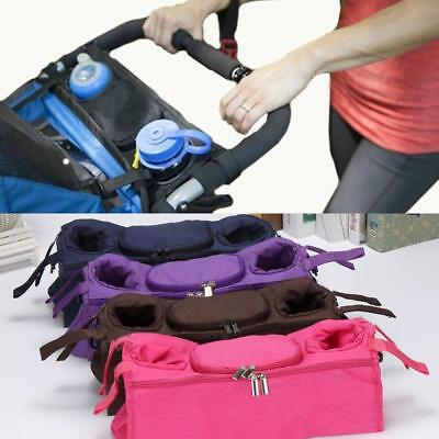 Baby Kids Stroller Safe Console Tray Pram Hanging Bag Bottle Cup Holder FW