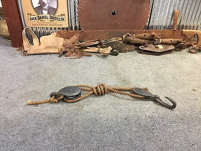 Vintage Industrial Rustic Double Pulley Block & Tackle Set Farm Tool