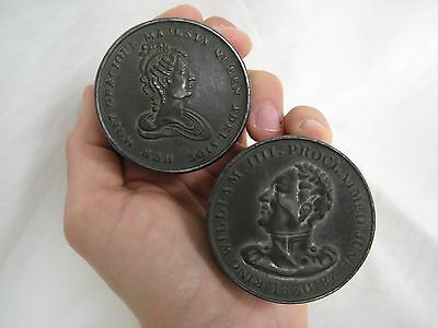 Antique Tin King William IIII & Queen Adelaide Snuff Boxes