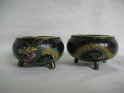 Old Chinese Cloisonne Dragon Salts