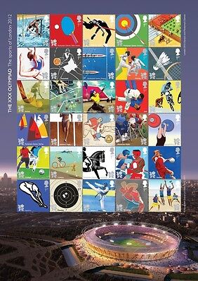 GB London 2012 Olympic Games Sheet of 30 x 1st Class Stamps U/M Brand New
