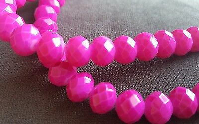 X2 Hot Pink Glass Bead Strands NEW 8 Inches length each. 10x8 mm