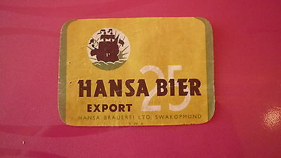 OLD 1950s NAMIBIA BEER LABEL, HANSA BREWERY SOUTH WEST AFRICA, 25 EXPORT