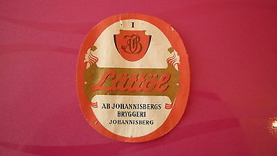 OLD 1950s SOUTH AFRICA BEER LABEL, AB JOHANNESBURG BREWERY, LATTOL