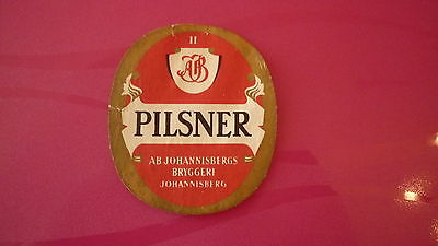 OLD 1950s SOUTH AFRICA BEER LABEL, AB JOHANNESBURG BREWERY, PILSNER