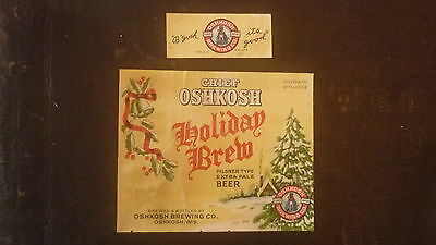 OLD 1950s USA BEER & NECK LABEL, OSHKOSH BREWERY WISCONSIN, HOLIDAY BREW 12oz 1