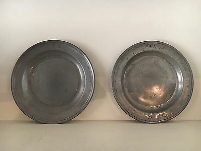 "2 X 18th c English Pewter Plates Allen Bright Ownership Marks 8 3/4"" Early USA"