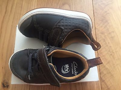 Clarks Max Spring FX Boys Grey Leather First Shoes Shoes 4.5G