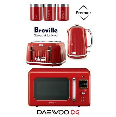 Breville Impressions Red Kettle and Toaster & Retro Microwave & Canisters - New