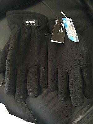 Thermal insulation fleece mens black gloves NWT
