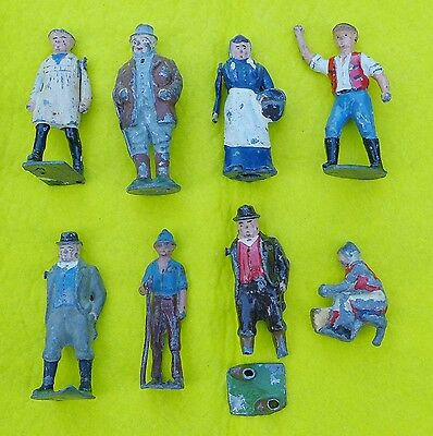 Collection of Vintage Britain's Lead Farm People / Figures & a Tree (Pre-War)