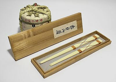 original from Japan - 2 pair of antic chopsticks ivory color in wooden box