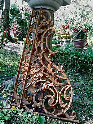 Two Ornate Iron French Scroll Corbels Brackets Braces Large Heavy Gate + Garden