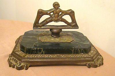 very big antique ornate bronze iron marble figural credit card holder stand tray