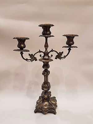 OLD ANTIQUE WMF SILVER PLATED CANDLESTICK FOR 3 CENDELS 1900s