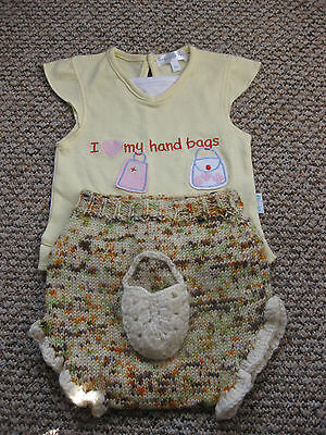 Pure wool hand knitted soaker nappy diaper cover handbag t shirt set