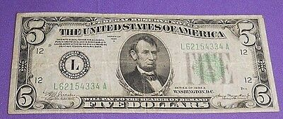 1934 A U.S. $5 Green Seal Federal Reserve Note