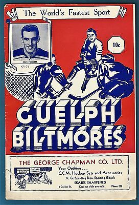 1954-55  Guelph Biltmores vs St. Michaels College Majors OHA Jr. hockey program