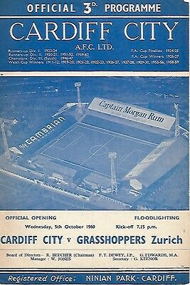 Cardiff City v Grasshoppers Zurich 1960/61 (Floodlight Opening)