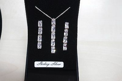 Sterling Silver 925 CZ Pendant Necklace & Earrings Set