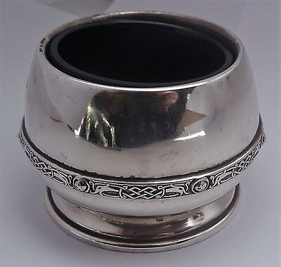Lovely solid sterling silver Celtic pattern salt with blue glass liner, 1933