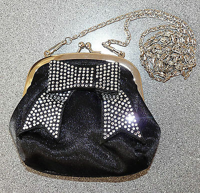 Ladies Vintage Black Bow Diamante Clutch / Shoulder Bag *rare*
