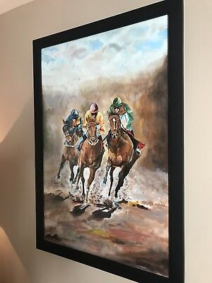 """Framed Horse Racing Original Oil and Acrylic Painting 36"""" by 24"""""""