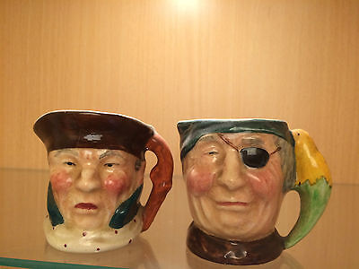 2 X Small Toby Character Jugs Sandland Ware,Lancaster Hanpainted Stanley ENGLAND