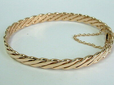 Gorgeous Solid Heavy 9Ct Yellow Gold Fancy Bangle - Unisex/mens/ladies