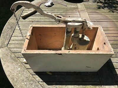 Antique Victorian Pine Box Toilet Flush System With Cast Iron Flush