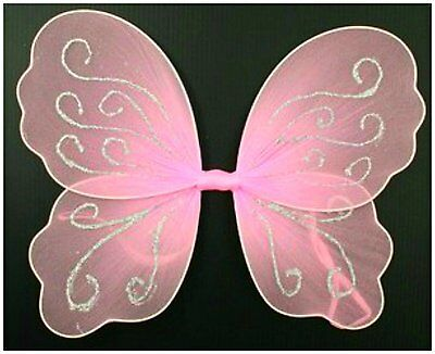 Small Pink Butterfly Angel Glitter Fairy Wings For Girls / Children 28 x 22 cm