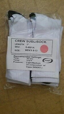 """New Vapor Apparel SubliSock Sublimation Sock Blanks! 7"""" high, 6 pair package!"""