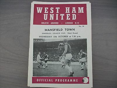 West Ham United v Mansfield Town League Cup 1965/66 Excellent