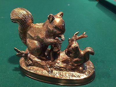 Solid Brass Squirrel Family Scene Figural Sculpture, Mother 2 Babies, Heavy