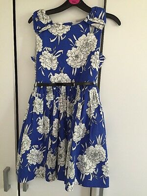 Girls Stunning Summer Party Bday Dress, Blue & White Flower Print. Age 7 Years!!