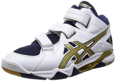 ASICS Japan Men's CYBERZERO MID Volleyball Shoes TVR476 White Gold With Tracking