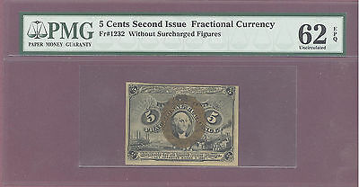 Fractional Currency 5 CENTS SECOND Issue W/O SURCHARGED F PMG 62 EPQ UNC F# 1232