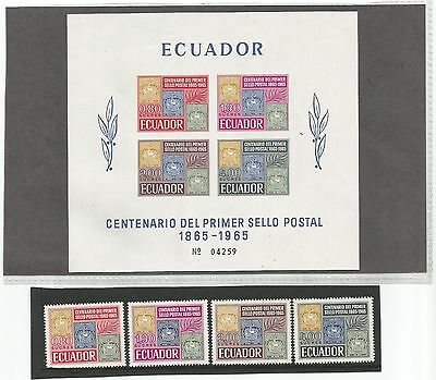 Ecuador 1965  Stamp Centenary  Stamps and Miniature Sheet MS1319 Unmounted Mint