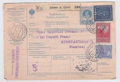 Zablocie Poland 1916 Parcel Card To Turkey