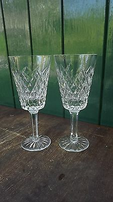 Tyrone Crystal PAIR stemmed wine Glasses Beautiful Design & fine cut Stamped