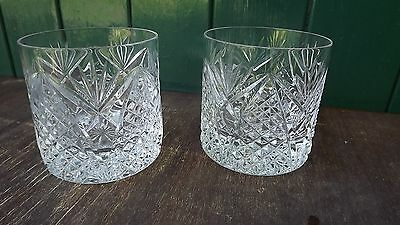 Tyrone Crystal PAIR stemmed Whiskey Glasses Beautiful Design & fine cut Stamped
